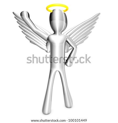 A cartoon angel isolated on white. 3D rendered Illustration.