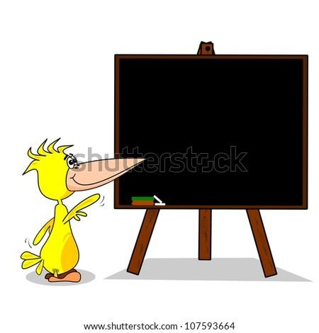 A cartoon bird pointing to a blank chalkboard copy space