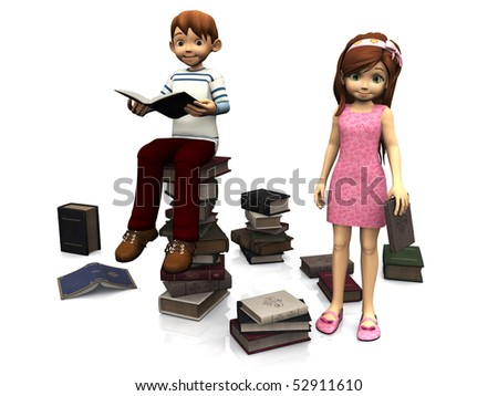 A cartoon boy sitting on a pile of books and holding a book. A cute cartoon girl in pink dress standing holding a book. Several books are scattered on the floor around them. White background.