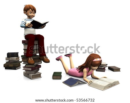 A cartoon boy sitting on a pile of books and holding a book. A cute cartoon girl  lying on the floor and reading a book. Several books are scattered on the floor around them. White background.