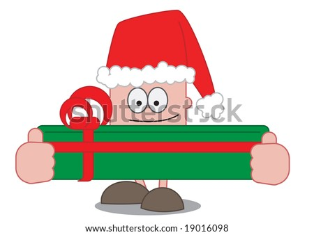 A cartoon character holding a big Christmas present and wearing a Christmas hat.
