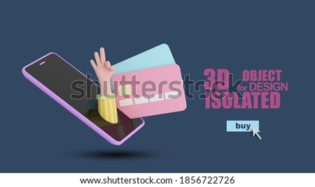 A cartoon 3D hand climbs out of a smartphone with credit cards.The hand shows a sign of admiration.3d illustration isolated on blue background.Render.Bank-card, mobile payment ,online shopping concept Foto stock ©