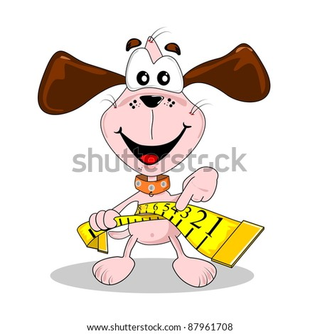A cartoon dog and measuring tape in diet weight loss concept
