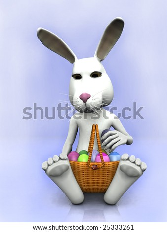cartoon easter bunnies and eggs. stock photo : A cartoon easter