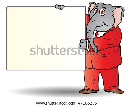 A cartoon elephant businessman in a suit and tie  holding blank board