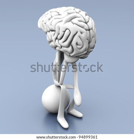 A cartoon figure con a huge brain. 3D rendered illustration.
