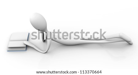 A cartoon figure reading a book while lying on the floor. 3D rendered Illustration.