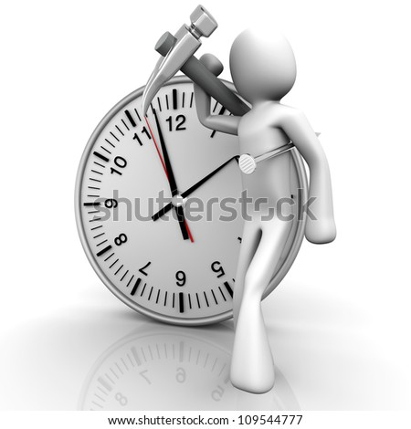 A cartoon figure with a clock. 3D rendered Illustration. Isolated on white.