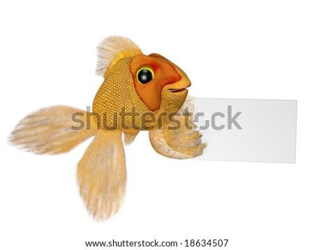 happy goldfish cartoon. A cartoon goldfish holding