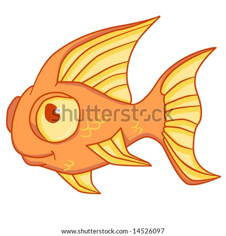 cute goldfish cartoon. photo : A cartoon goldfish