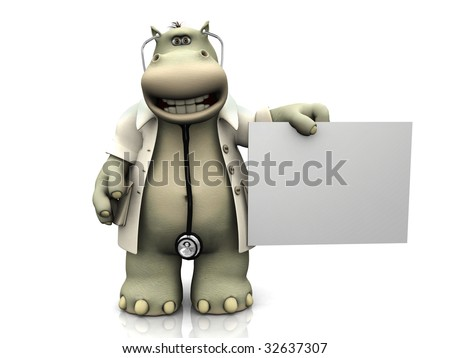 A cartoon hippo dressed as doctor holding a blank sign.