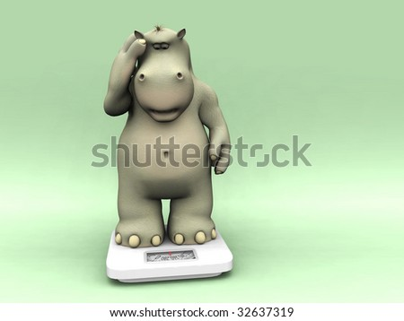 A cartoon hippo looking shocked when weighing himself on a scale.