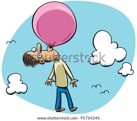 A cartoon man floating through the sky attached to a bubblegum bubble.