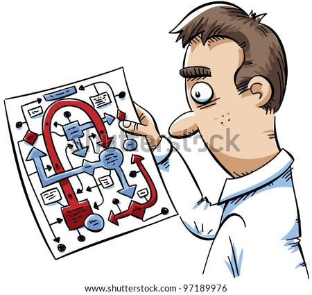 A cartoon man is confused by a complicated flowchart diagram.