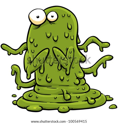 A cartoon monster made of green slime.