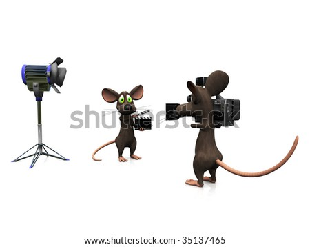 A cartoon mouse holding a film clapboard and another mouse filming.