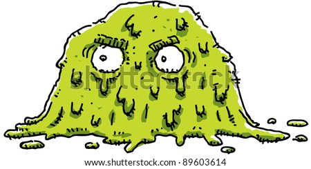 A cartoon of a grumpy, green blob of goo.