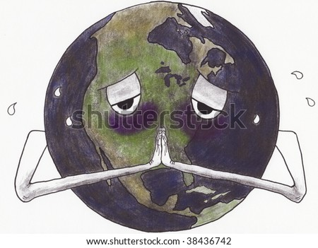 A cartoon of a sick and sweating earth with hands folded in prayer