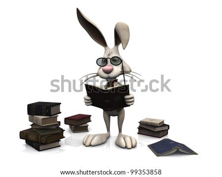 A cartoon rabbit wearing glasses and reading a book. He is surrounded by piles of  books. White background. - stock photo