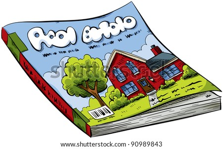 A cartoon real estate magazine with house on the cover.