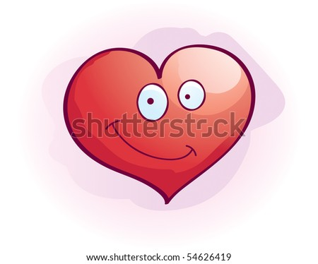 A cartoon red heart smiling and happy. #54626419