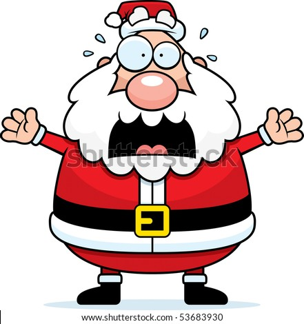 santa claus pictures cartoon. stock photo : A cartoon Santa Claus with a scared expression.