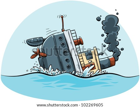 A cartoon ship sinks.