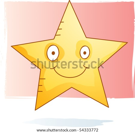 Cartoon star in a watercolor style stock photo
