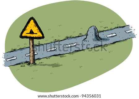 A cartoon traffic sign warns of a small bump in the road.