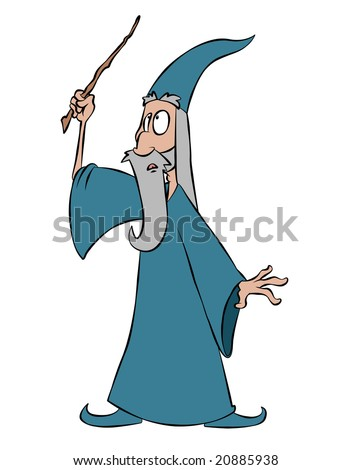 A cartoon wizard waving his wand, about to cast a spell.