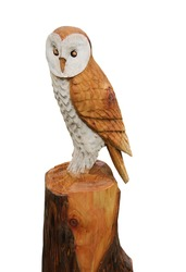 A Carved Wooden Model of an Owl Bird Animal.