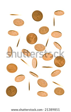 A cascade of one Ounce gold Krugerrand coins from South  Africa isolated on white.