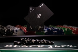 A Casino BlackJack table with black cards