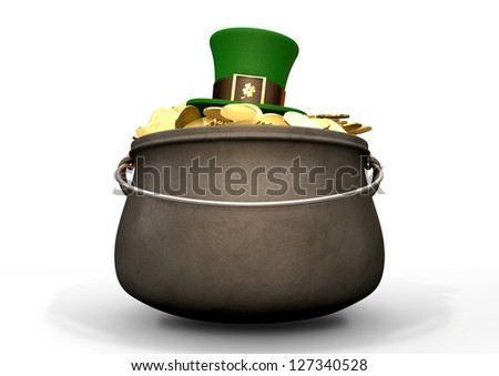 A cast iron pot filled with gold coins and a leprechaun top hat resting on top on an isolated background
