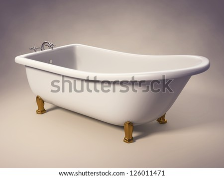 A cast-iron standing bathtub on white with clipping path included.