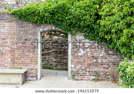 A castle garden entrance seen in Rye, Kent, UK