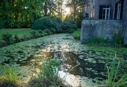 A castle in Geldrop Noord-Brabant Holland look through a tree