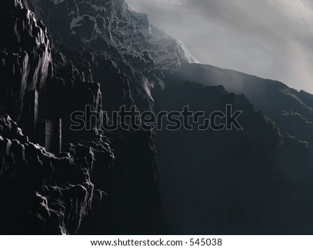 A castle perched on a craggy mountain cliff.