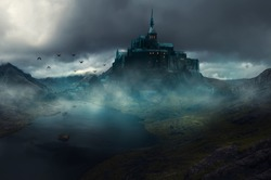 a castle with a fantasy view, cloudy and foggy