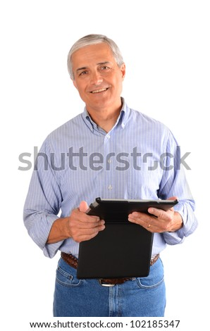 A casually dressed businessman holding a tablet computer in a case. Vertical composition over a white background.