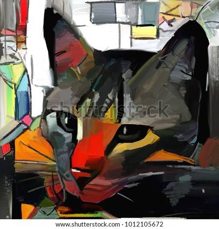 A cat and her face in the style of abstract art. Expressive brushstrokes of the impressionist. The painting is executed in oil on canvas with elements of pastel painting.
