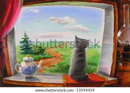a cat in the window is waiting for his master