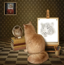 A cat looks at his reflection in a mirror. It sees a tiger there.