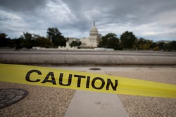 A caution sign at the US Capitol building in Washington, D.C.