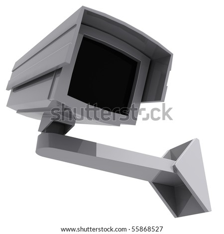 a cctv camera isolated on white