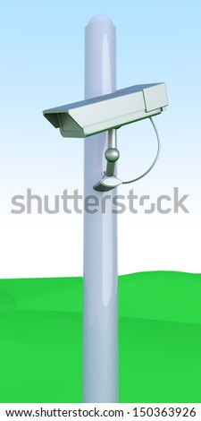 A CCTV surveillance cam on green hills. 3D rendered Illustration.