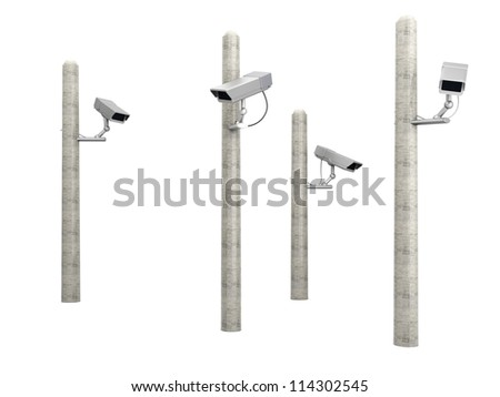 A CCTV surveillance. 3D rendered Illustration.