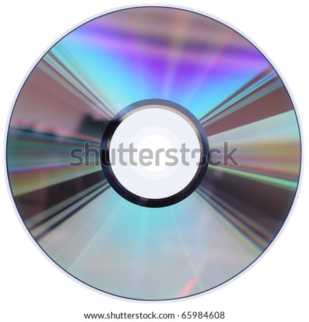 A CD / DVD disk isolated on white with four clipping paths. No scratches or dust.