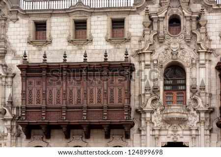 A cedar balcony in the Archbishop's Palace on the Plaza Mayor (formerly known as the Plaza de Armas) in Lima, Peru
