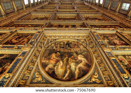 A Ceiling Decoration inside the Florence Castle in Florence, Italy